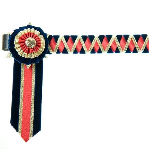 ShowQuest Ludlow Pony Browband in Navy Blue/Red/Gold